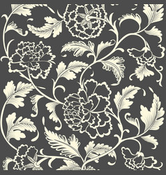 Ornamental colored antique floral pattern vector