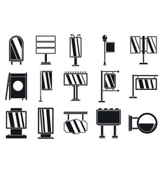 outdoor advertising billboard icons set simple vector image