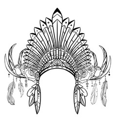 outline drawing native cap indian with vector image