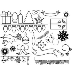 Outlined christmas elements vector