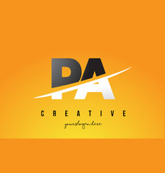 pa p a letter modern logo design with yellow vector image