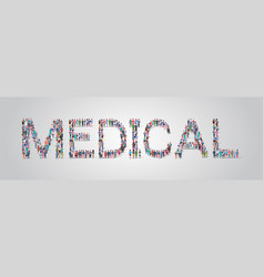 people crowd gathering in shape medical word vector image