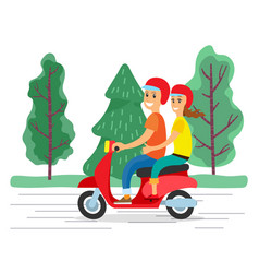 People hugging and traveling on motorbike vector