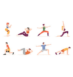 People working out physical exercises characters vector