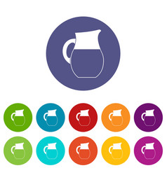 pitcher of milk set icons vector image