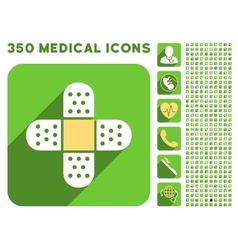 Plaster Cross Icon and Medical Longshadow Icon Set vector image