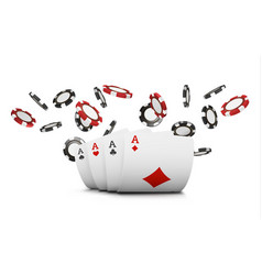 Playing cards and poker chips fly casino concept vector