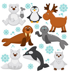 Polar animals and arctic fish cartoon characters vector