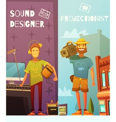 Projectionist And Sound Designer Cartoon Banners vector image