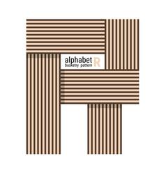 R - unique alphabet design with basketry pattern vector