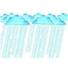 Rainingwatercolor image with blue rain clouds in vector