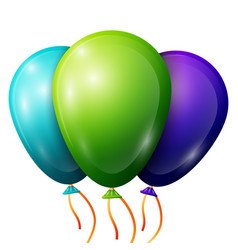 Realistic blue green purple balloons with ribbon vector