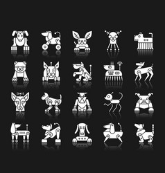 Robot dog white silhouette icons set vector