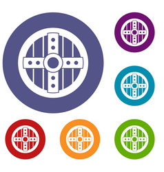 Round protective shield icons set vector