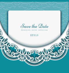 Save the date card with lace border pattern vector