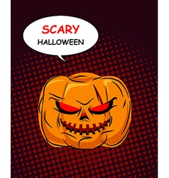 Scary Halloween Horrible Pumpkin with red eyes vector image