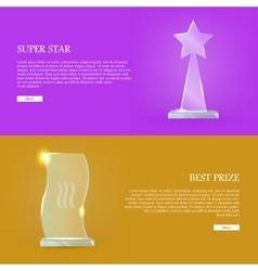 Set glass awards trophy rewards web banner vector