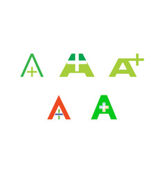 set of initial letter a cross plus medical logo vector image