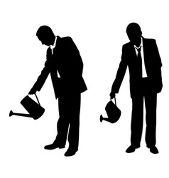 silhouettes of businessmen with sprinkler vector image