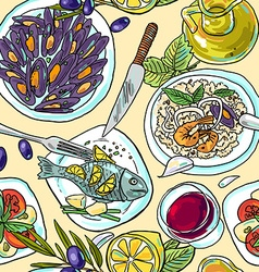 simpless hand-draw pattern mediterranean food vector image