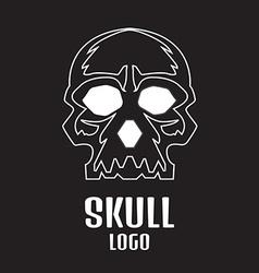 Skull logo linear Human skull logo vector image