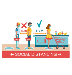 social distancing at supermarket prevent covid-19 vector image