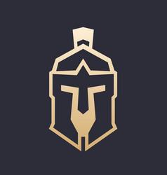 Spartan helmet outline greek warrior armor vector