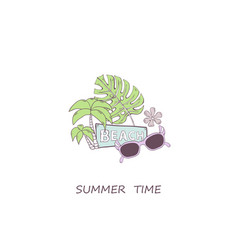 summer time concept with sunglassesgreen vector image