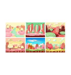 Sweet fantasy landscape set candy land elements vector
