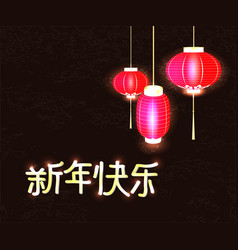 text happy new year chinese with red flashlights vector image