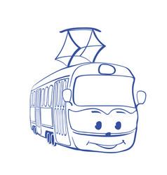 Tramway cartoon smiley tramway drawing vector