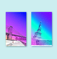 trendy cover template statue liberty new york vector image