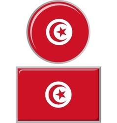 Tunisian round and square icon flag vector