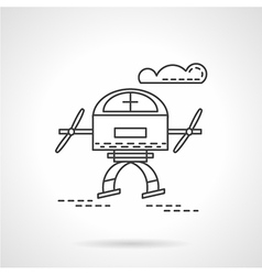 Unmanned drone flat line icon vector