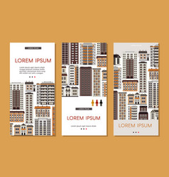 Urban house banners set with various multistorey vector