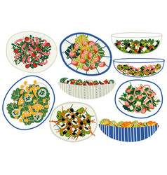 Various salads set appetizing healthy dishes vector
