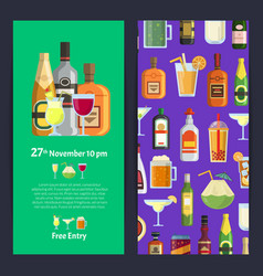 vertical invitation template party with vector image