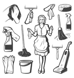Vintage Cleaning Service Elements Collection vector
