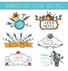 Vintage floral logotypes setDoodle hand sketchy vector