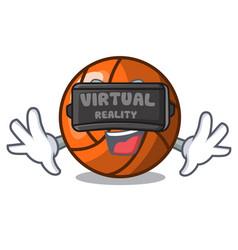 Virtual reality volleyball mascot cartoon style vector
