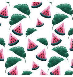 watermelon leaves tropical fruits background vector image