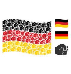 waving german flag collage of fist icons vector image