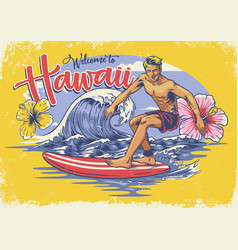 Welcome hawaiian surfing vector