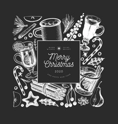 Winter drinks design template hand drawn engraved vector