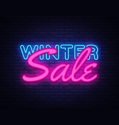 winter sale neon text design template big vector image
