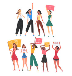 Women fighting for their rights set female vector