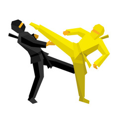 black and yellow ninja combat vector image