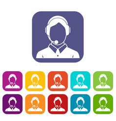Client services phone assistance icons set vector