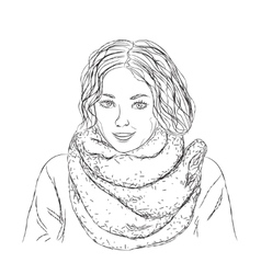 Hand drawn girl vector image
