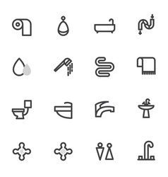 set of icons with shower toilet bathroom vector image vector image